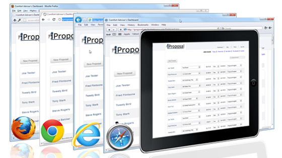 iProposal for iPad, Android and all popular browsers including Internet Explorer, Firefox, Chrome and Safari